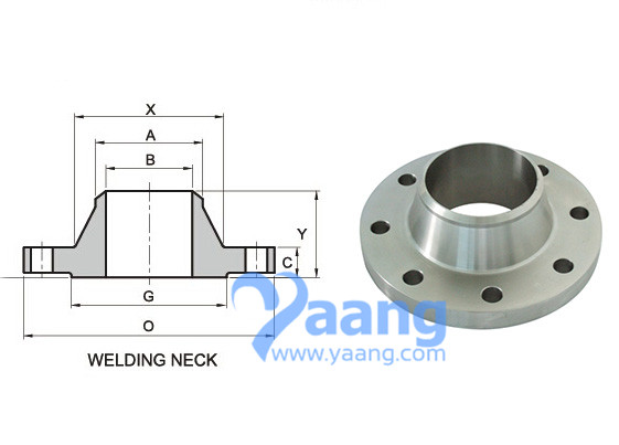 Dimensions of ANSI/ASME B16.5 Weld Neck Flanges