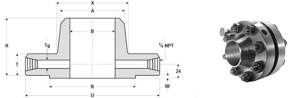 Dimensions of ASME B16.36 Raised Face Orifice Flanges