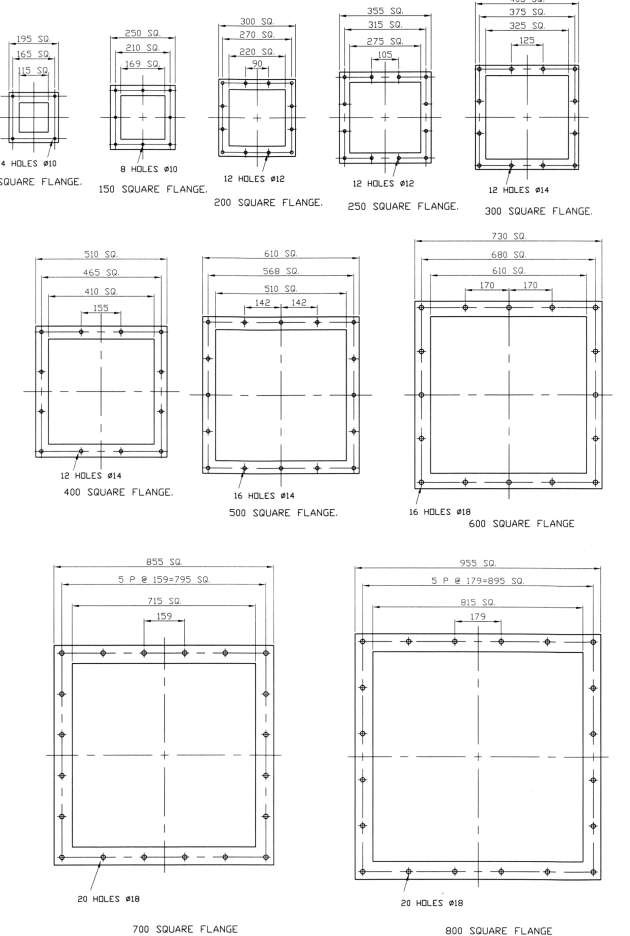 Dimensions of Square Flanges