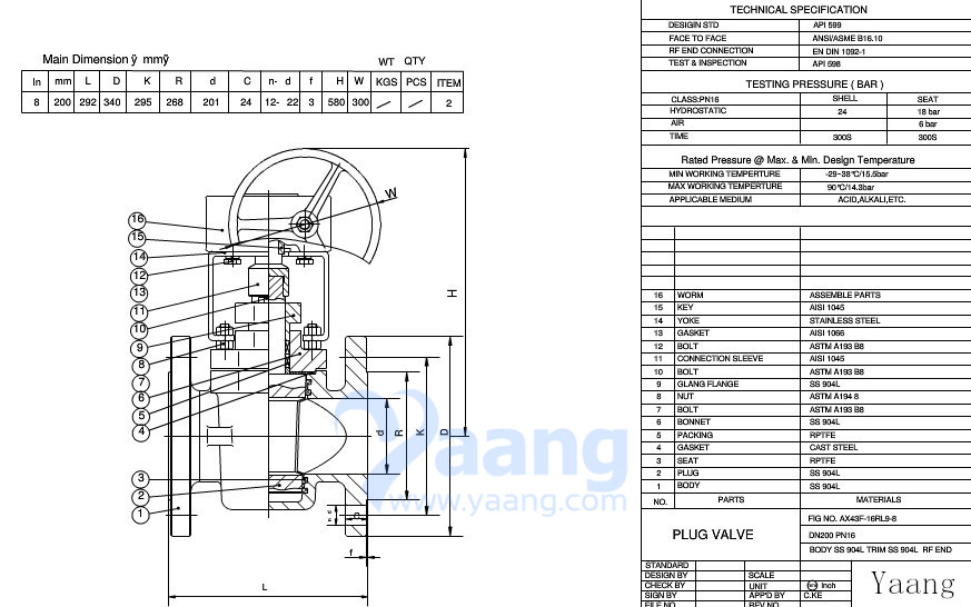 Sleeve Soft Seal Plug Valve Drawing
