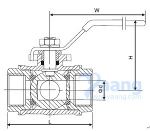 3 Way Female Thread Ball Valve Drawing