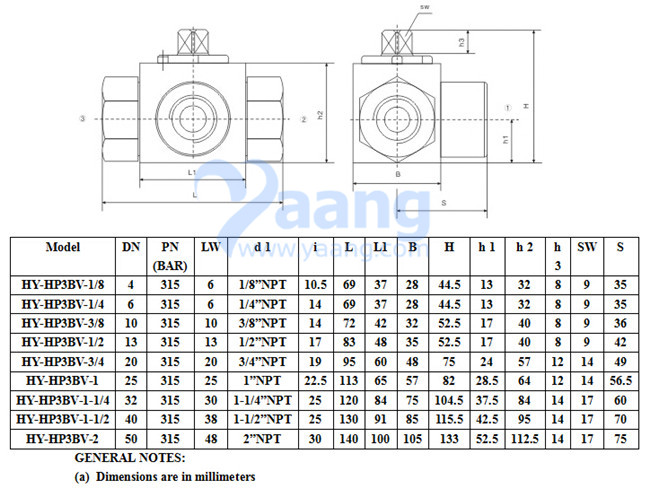 3 Way High Pressure Female Thread Ball Valve Drawing