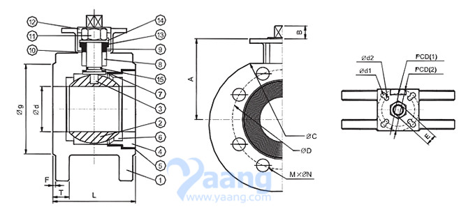 1 Piece Wafer Ball Valve Drawing