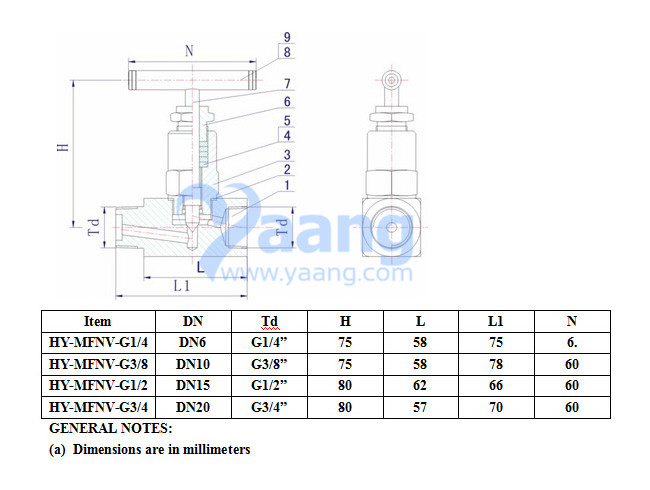 Male And Female Thread Needle Valve Drawing