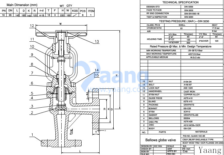 DIN Angle Bellows Globe Valve Drawing