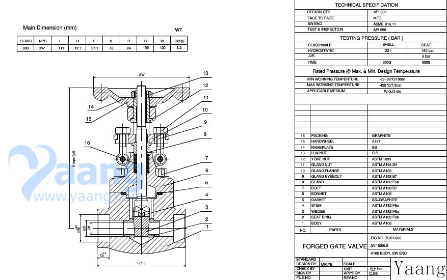 Forged Gate Valve 800LB Drawing