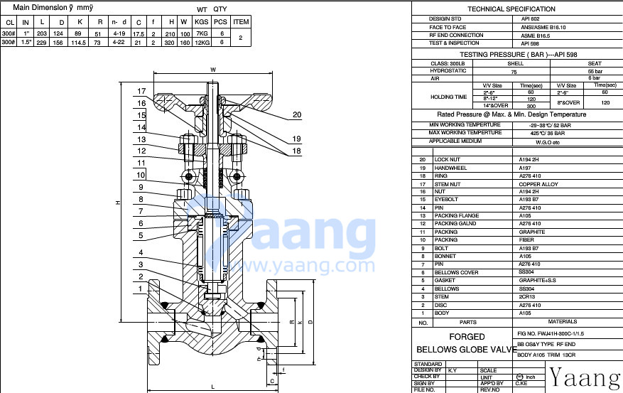 Forged Bellows Globe Valve Drawing