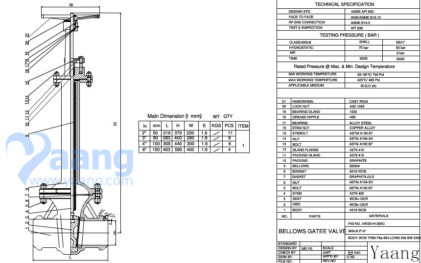 Bellows Sealed Gate Valve Drawing