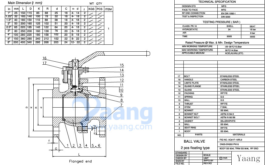2 PC Cast steel Floating Ball Valve Drawing