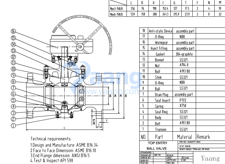 Top Entry Ball Valve Drawing