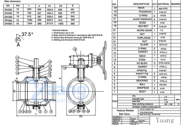 Welded Ball Valve Drawing