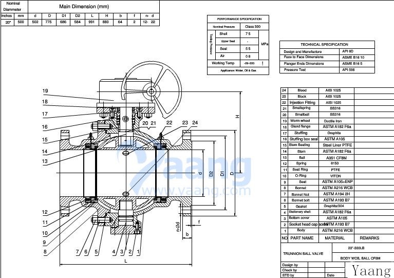 Cast Steel Trunnion Ball Valve Drawing