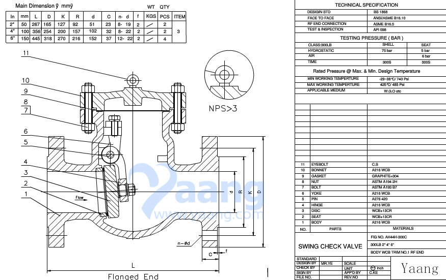 Swing Check Valve Drawing