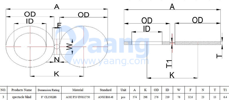 A182 ANSI B16.48 F53 Spectacle Blind Flange 8 Inch CL150 FF Drawing