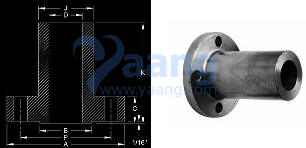 Long Weld Neck Flange Drawing