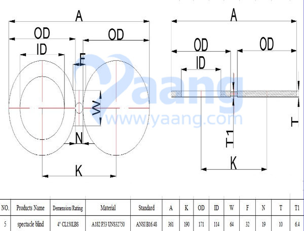 A182 ANSI B16.48 F53 Spectacle Blind Flange 4 Inch CL150 FF Drawing