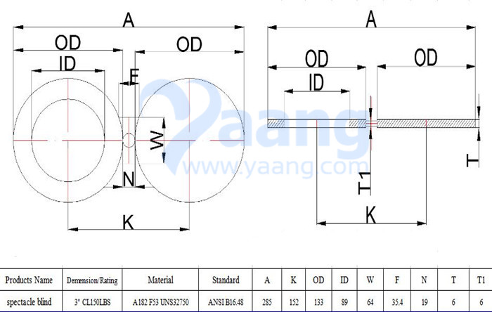 A182 ANSI B16.48 F53 Spectacle Blind Flange 3 Inch CL150 FF Drawing