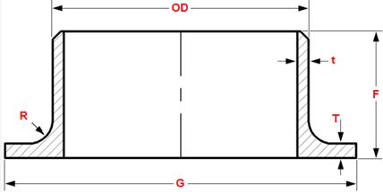 Dimensions of ASME B16.9 lap joint stub ends