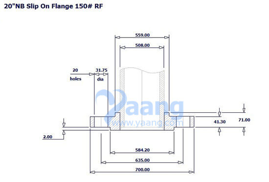 SORF Flange 20 inch's drawing