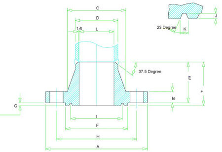 Class 900 WN RTJ Flange Dimensions