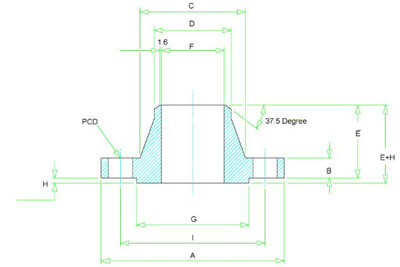 Dimensions of Class 1500 Weld Neck Flange