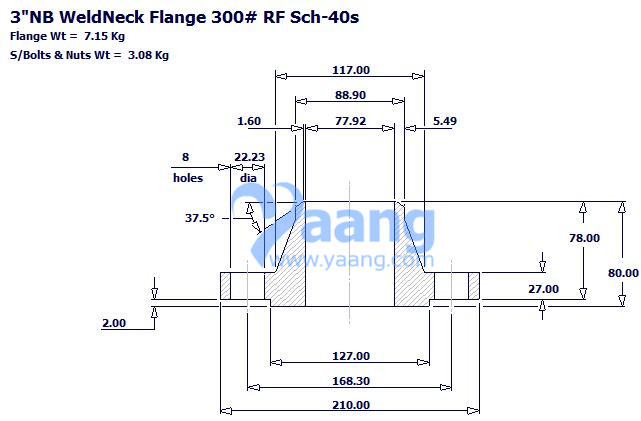Drawing of WN.RF Flange 3 Inch