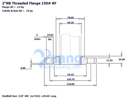 Threaded Flange RF 2 Inch CL150