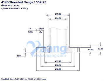 Threaded Flange RF 4 Inch CL150