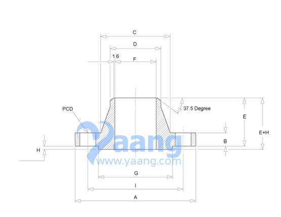 Dimensions of ANSI/ASME B16.5 Class 900 Weld Neck Flange