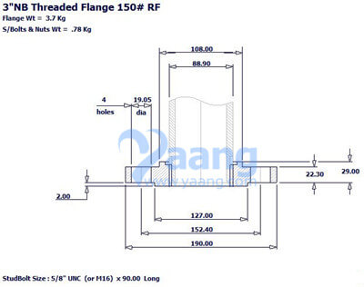Threaded Flange NPT RF, 3 Inch, CL150