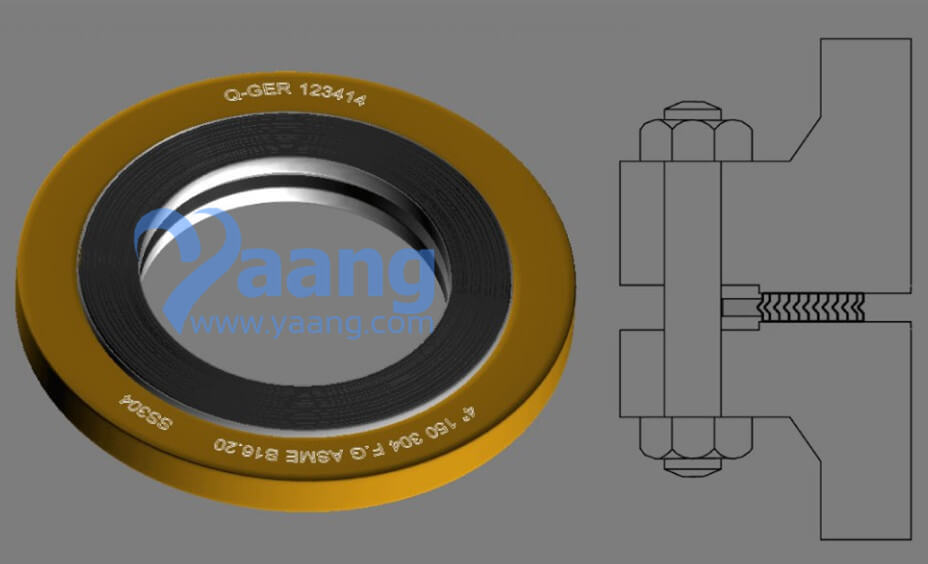 Asme B16 20 Ss304 Graphite Spiral Wound Gasket 4 Inch Yaang