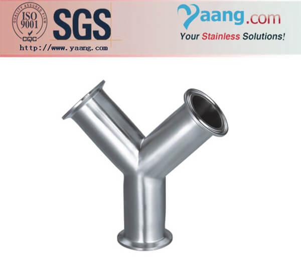 Sanitary stainless steel y type clamp tee tube fittings