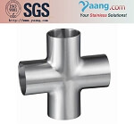 Sanitary fittings stainless steel butt weld pipe cross
